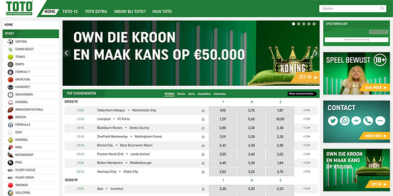 toto sportweddenschappen website